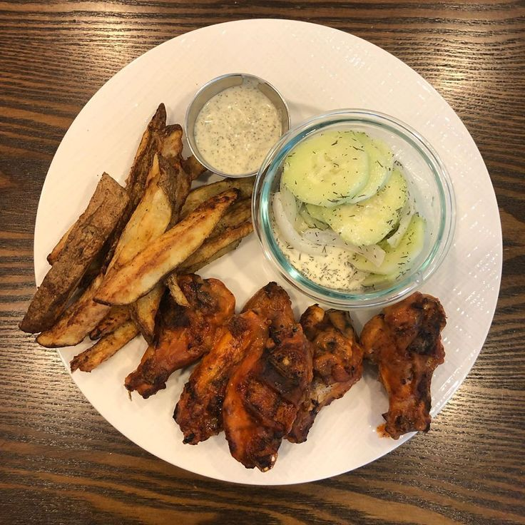 Dinner Wings Fries  Dump Ranch & Cucumber Salad. . . . . . #whole30 #whole30chal…