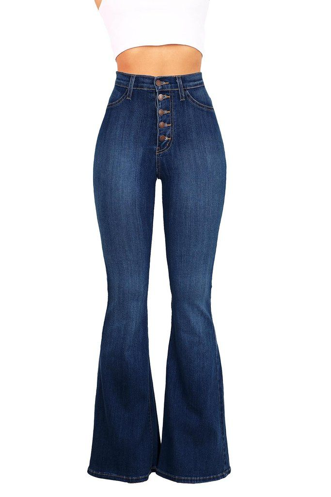 These retro inspired high rise fitted bell bottom jeans come with a multi-button closure. Faux front pocket detail.Comfortable and super stretchy denim material. *Machine Wash Separately *68% Cotton 2
