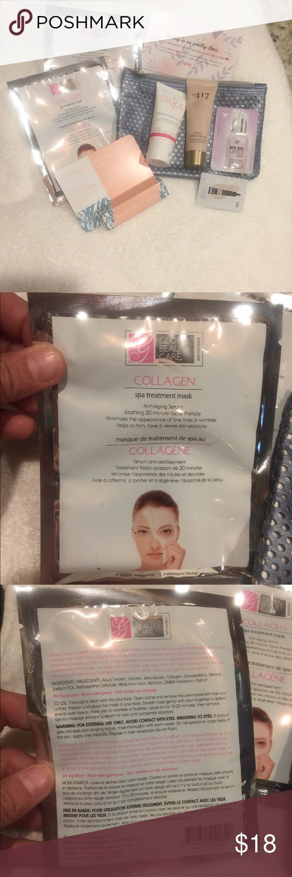 NWT IPSY Facial Make-up Bundle January 2017 Bag New IPSY bag and make-up bundle 2 Global Beauty Collagen Spa Treatment Mask, JeNu-Marine Collagen Mineral Gel .17 ounces. -Hand Moisturizer-417,  Cake Supreme Body MOUSSE; 2 IT cosmetics samples--Bye Bye under eye and Bye Bye Lines Serum. All items are new sealed. Comes with the January 2017 IPSY Bag Cake Makeup Face Primer