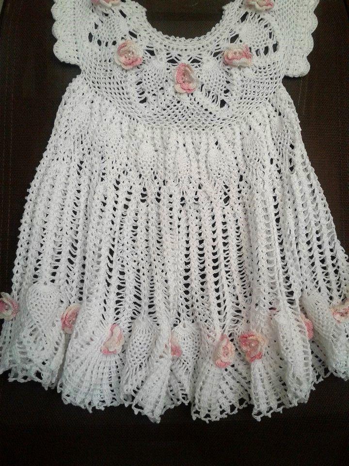 vestido para niña de un año a crochet en hilo perla