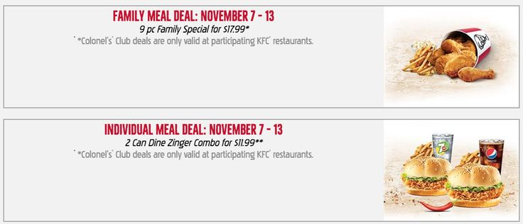 KFC Canada Colonels Club Weekly Deals: Family Meal Deal  9 pc Family Special for $17.99 Individual Meal Deal ... http://www.lavahotdeals.com/ca/cheap/kfc-canada-colonels-club-weekly-deals-family-meal/135187