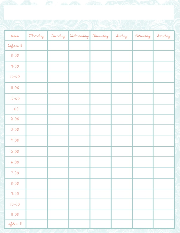Weekly Schedule template - Creative Balorina