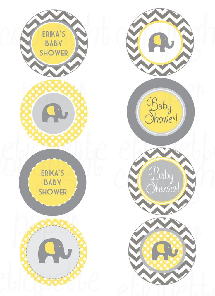 Elephant Yellow and Gray Chevron Baby Shower - Print Your Own by PaperEtiquette on Etsy