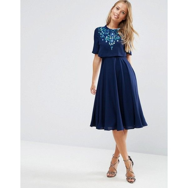 ASOS Embellished Crop Top Midi Skater Dress ($81) ❤ liked on Polyvore featuring dresses, blue, skater dress, calf length dresses, embellished skater dress, asos dresses and tall dresses