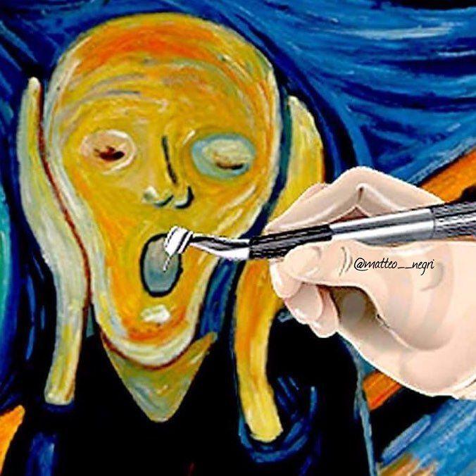Edvard Munch's the scream  #teeth#tooth#toothless#anatomy#dentalchair#cirugiaoral#cirugiabucal#oralsurgery#dentist#dentistry#dentistrymyworld#dental#dentalpics#dentalhygiene#dentalclinic#dentalassistant#dentalschool#odonto#odontogram#odontologo#odontology#odontolove#odontología#odontopaixão#odontoporamor#odontopediatria#estomatología#smile#hystory#handpiece by matteo__negri Our Oral Surgery Page: http://www.myimagedental.com/services/oral-surgery/ Google My Business…