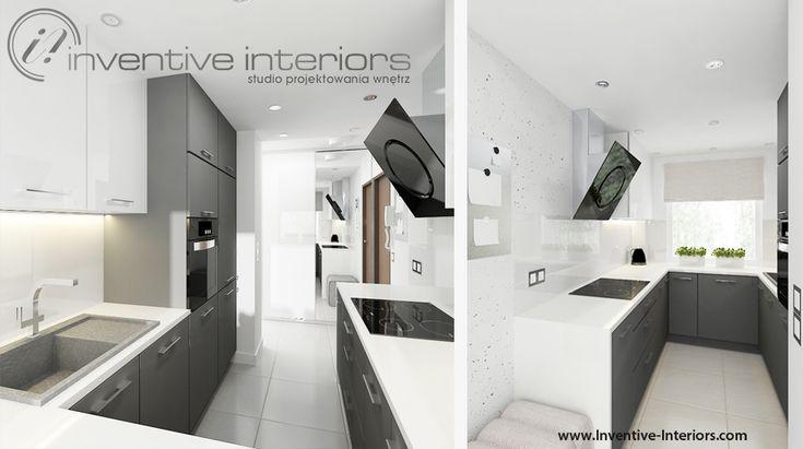 Projekt kuchni Inventive Interiors - biało-szara wąska kuchnia z akcentami beżu