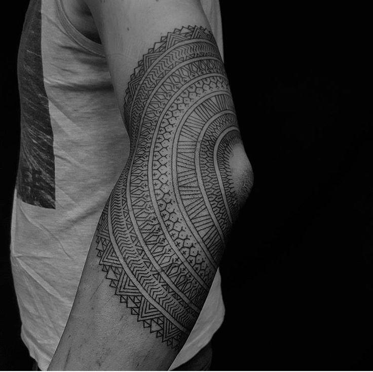 Elbow pattern tattoo done by Tristan (Dead Meat Tattoo) #sunsettattoonz www.sunsettattoo.co.nz