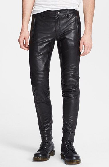 BLK DNM Skinny Fit Leather Biker Pants available at #Nordstrom