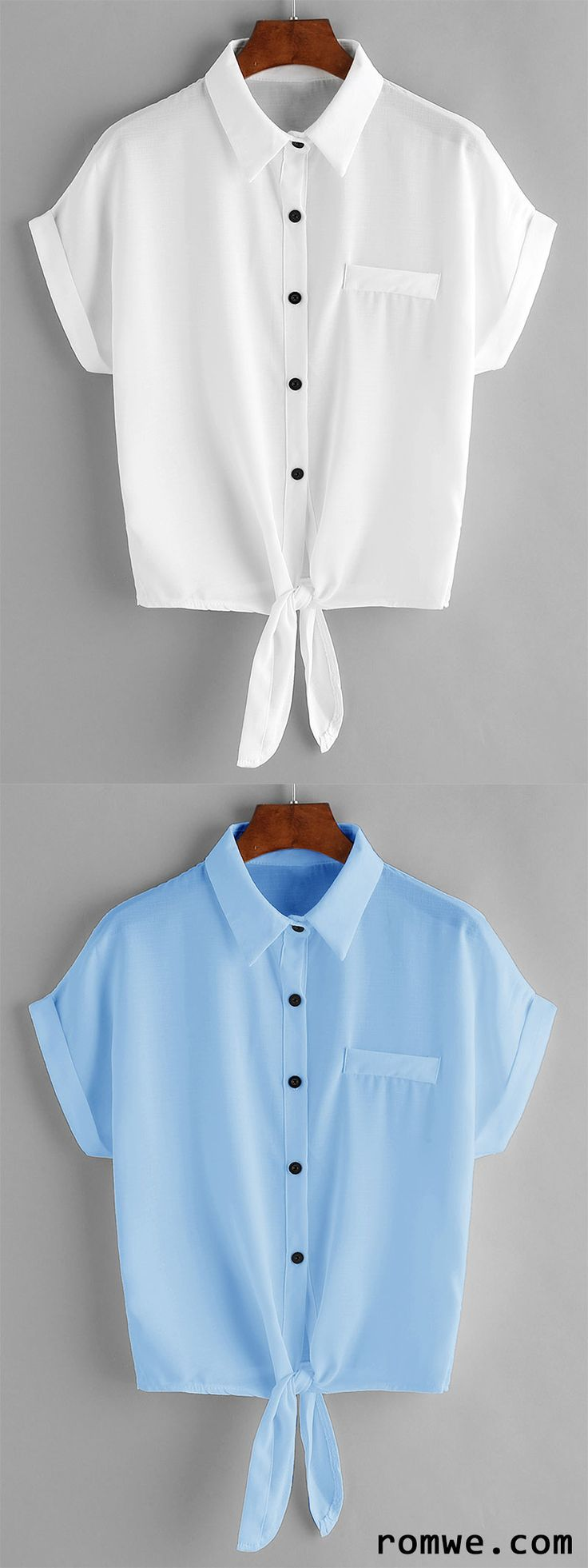 Tie Front Cuffed Chiffon Blouse With Chest Pocket
