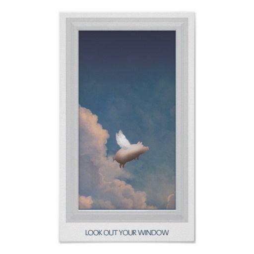 vliegend varken door vensterposter plaat