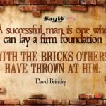 """A successful man is one who can lay a firm foundation with the bricks others have thrown at him."" – David Brinkley"