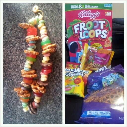 Airplane snack for kids (also a good movie treat). And kids can help you put them together too.