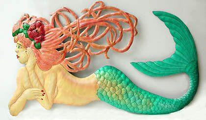 "Metal Mermaid Wall Decor - Decorative Hand Painted Mermaid Art - Haitian Steel Drum Art - 24"""