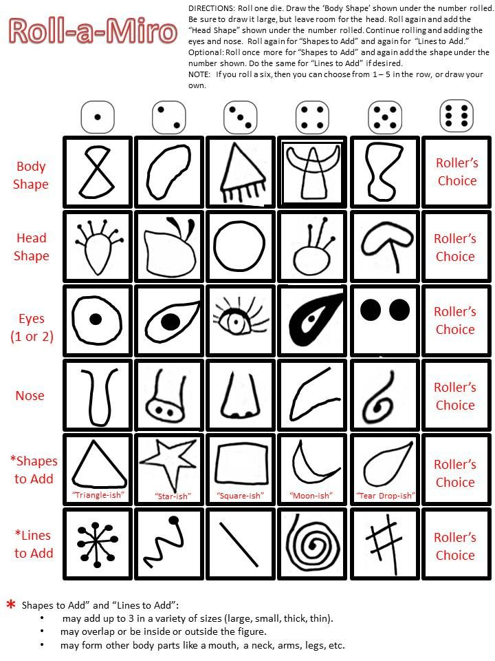 Joan Miro! Awesome! Roll-a-Miro: Game to make a Miro creature.