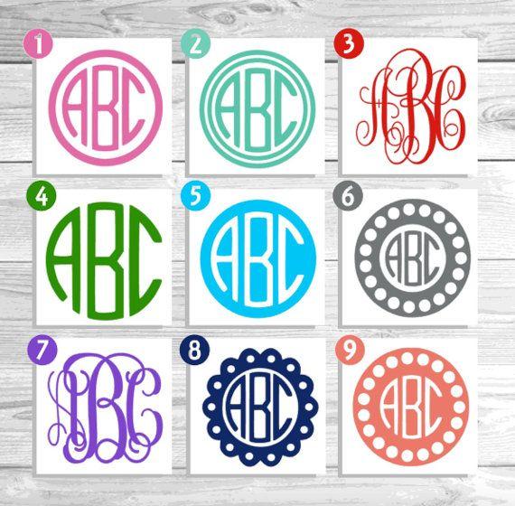 Vinyl Monogram Monogram Decal Monogram Sticker by Pixidustboutique