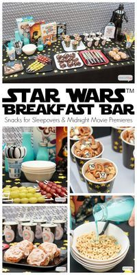 "Are you planning a Star Wars party to celebrate the premiere of ""The Last Jedi""? Or maybe you'll be going to one of the midnight screenings. Here are some great Star Wars snack ideas for breakfast. It would be so cool to set up a Star Wars breakfast b"