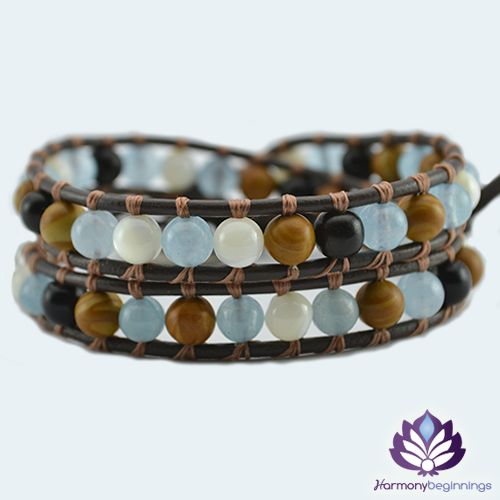 "Our Healer wrap bracelet is designed combining Larimar Blue Jade, Mother of Pearl and Black Tourmaline Gemstones. Created to promote balance and healing, aiding in bringing serenity to the mind by releasing negative thoughts. Stirs and awakens the primordial memory of your origin in the infinite ocean of divine love. <span style=""color: #000000;"">Cleansing</span>, purifying, and transforming dense energy into a lighter vibration. On ..."