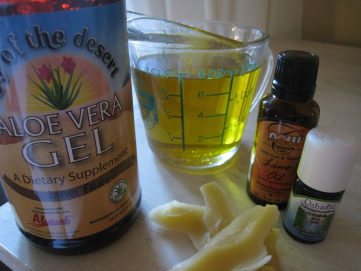 Non-greasy homemade moisturizing lotion.  1 c aloe vera gel, 1 tsp vitamin E oil, 3/4 ounce beeswax, 1/2 c almond or grapeseed oil, 1 tbsp cocoa butter, 10 drops essential oil of choice.  The almond and grapeseed oil are easily absorbed in the skin making it non-greasy.