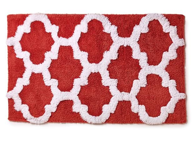 Patterned Bath Rug, $10.00, Marshalls stores Put a little pattern (and a lot of color) under your feet with this 100-percent cotton rug.