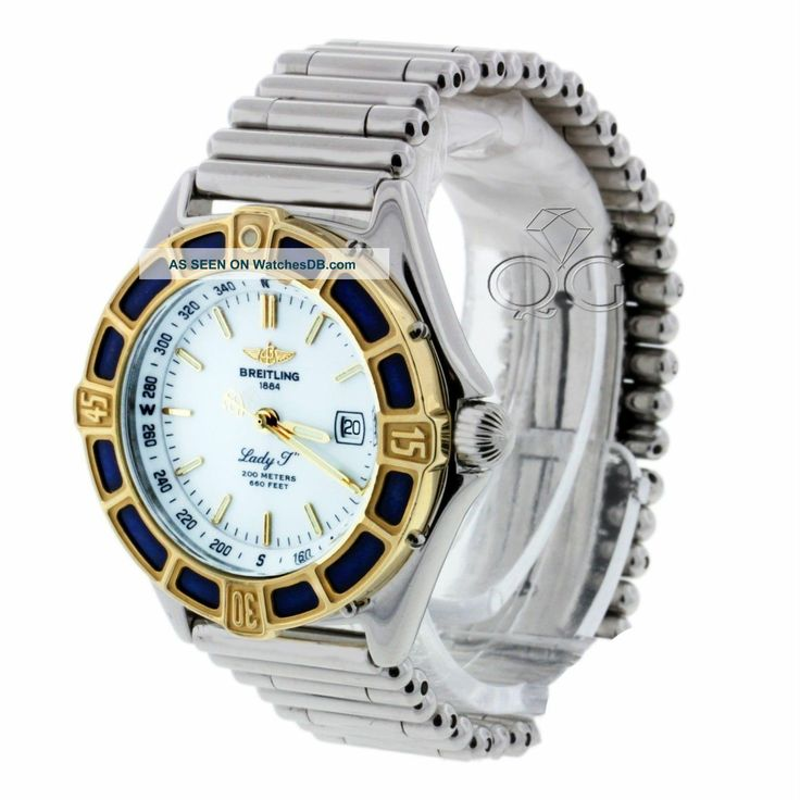 "ladies breitling watches | Breitling 1884 Lady "" J "" Stainless Steel 18k Gold Bezel Ladies Watch ..."