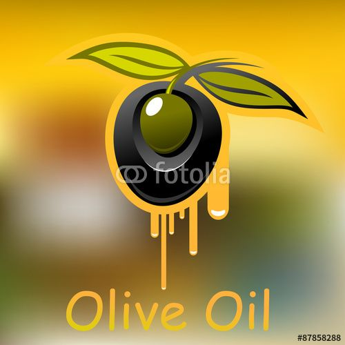Вектор: Olive fruit and dripping olive oil