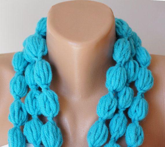 Colore di turchese di bolla blu turco sciarpa collana di Periay