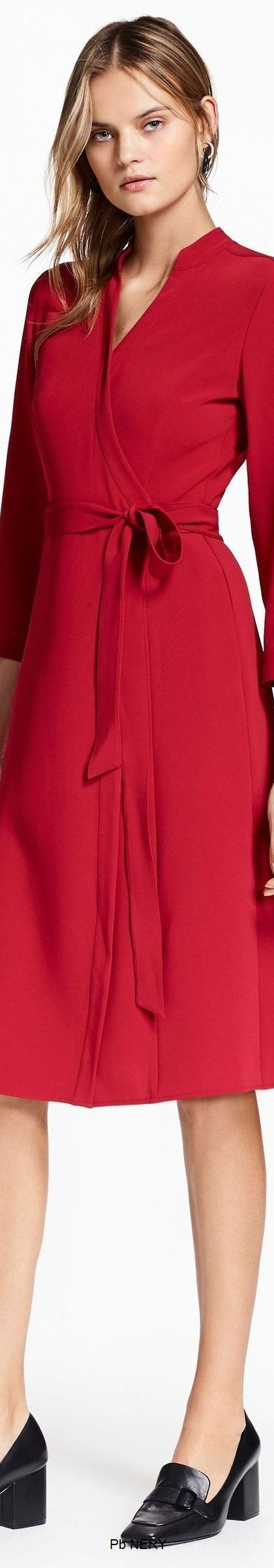 @roressclothes clothing ideas #women fashion red dress Brooks Brothers Pre-Fall 2017: