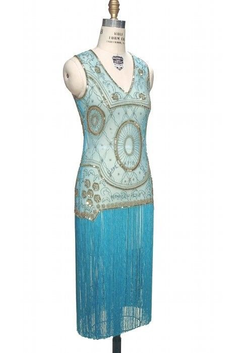 Old Hollywood Glamour Dress in Gold/Turquoise | Great Gatsby & Flapper Style Dresses | Art Deco & Roaring Twenties Gowns | Vintage & 1920s Inspired | The Deco Haus