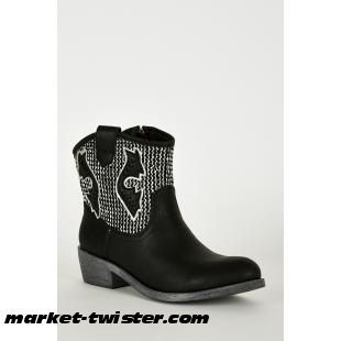 Textured Silver Leatherette Cowboy Boots In Black