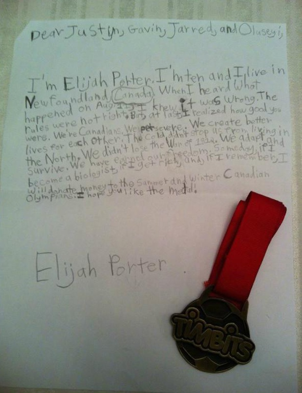 Newfoundland boy offers his medal to disqualified men's Olympic relay team @Maliha A