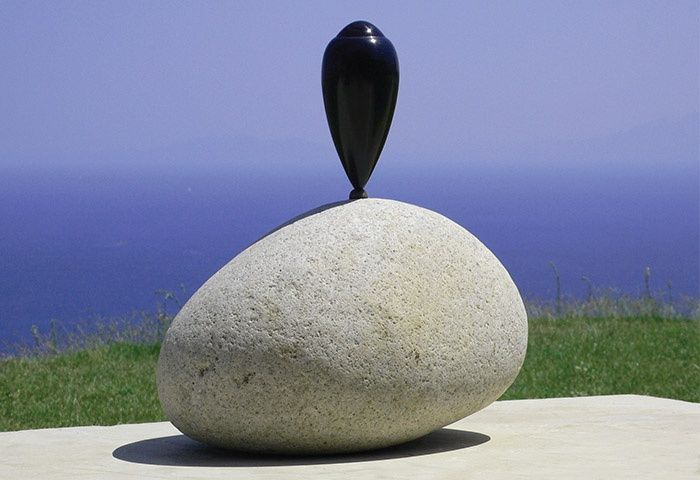 Osman Dinç, Cyclop, stone, glass, wood, paint, 55x50x40 cm, 2006