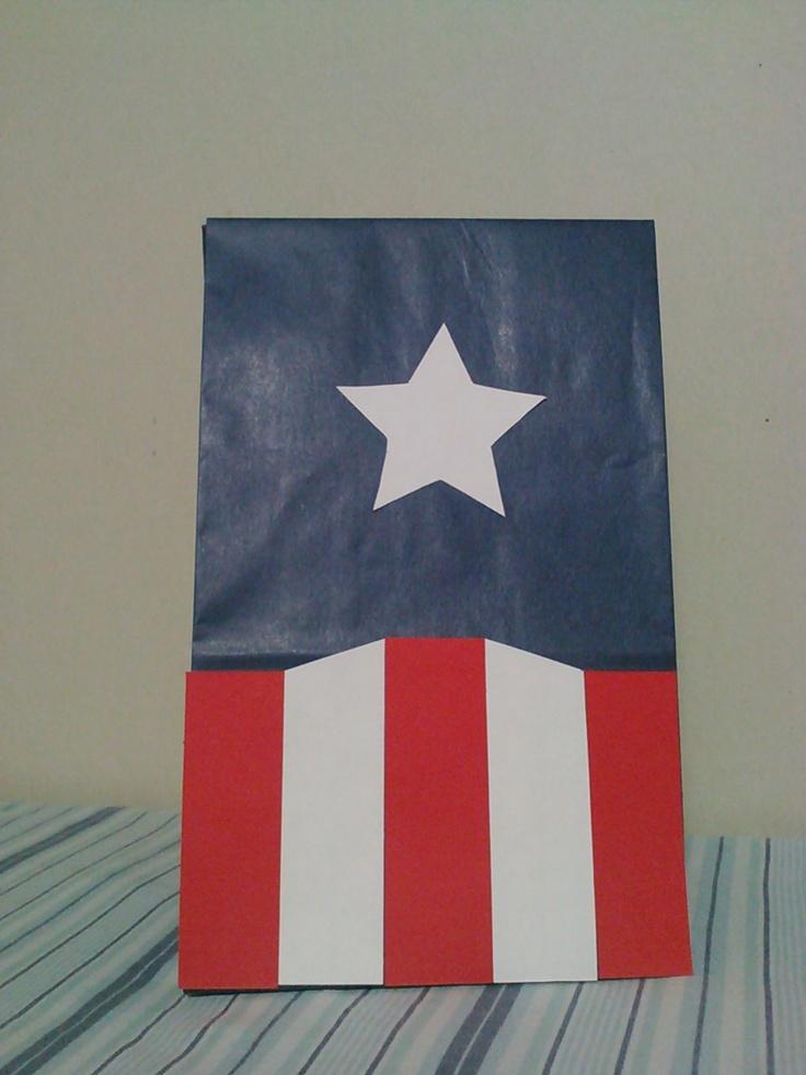 Captain America, Thor, Iron Man, Hulk, Avengers inspired birthday party/treat bags. $15.00, via Etsy.