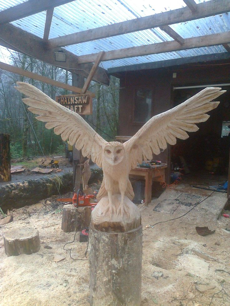 chainsaw art owl painted like Hedgewick from Harry Potter sitting at the edge of the woods