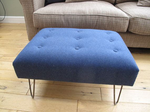 Contemporary handcrafted footstool with luxurious by AlderburyJack