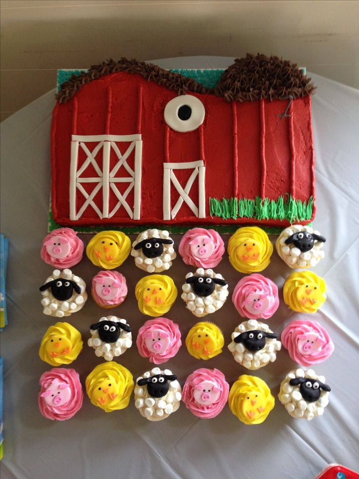 Made this barn cake and cupcake animals for my friends babys