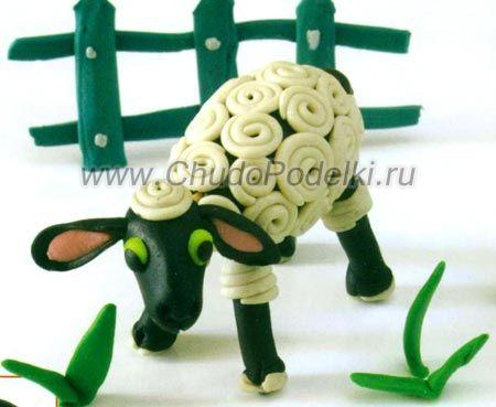 как слепить овечку из пластилина