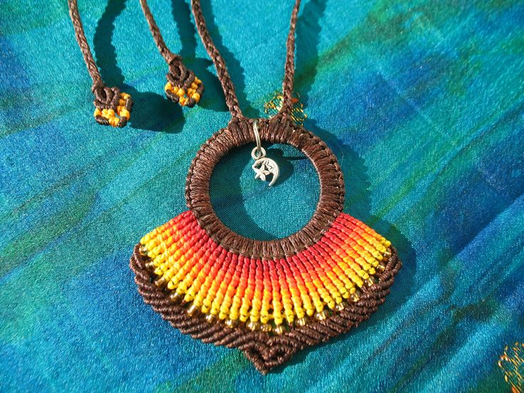 Sun and moon macrame necklace. Inspired in nature. Handmade. Hippie. Boho. Tribal. by PeterPanCreations on Etsy