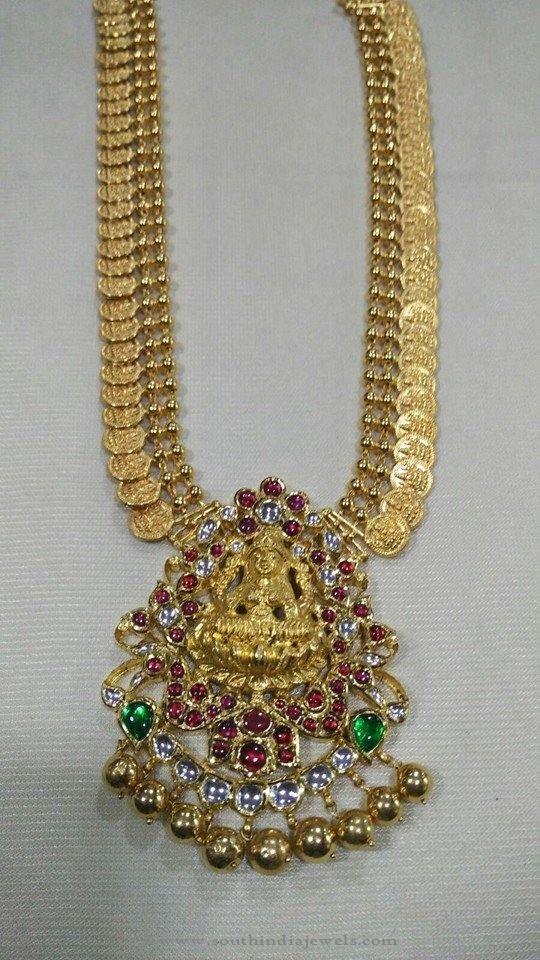 Gold Antique Kasumalai Necklace, Gold Antique Long Kasumalai Necklace, Gold Long Coin Necklace Designs.