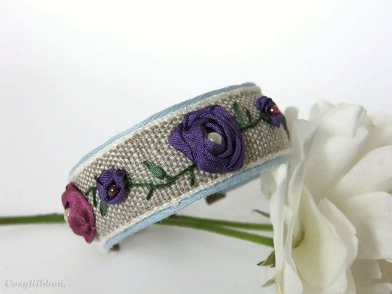 Free Shipping Cuff Bracelet-Linen and Silk Cuff by cosyribbon
