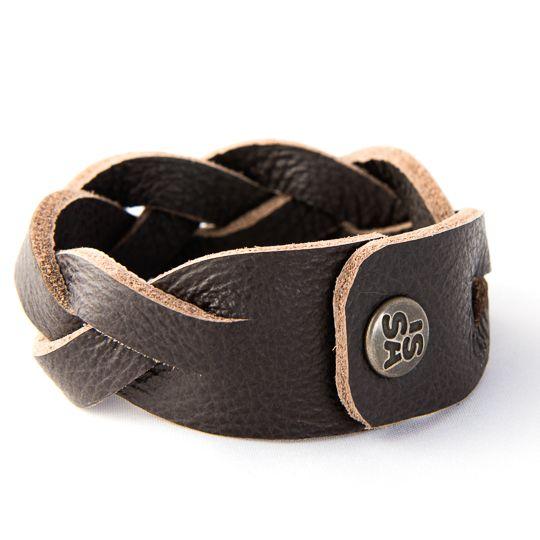 Twist dark brown men bracelet www.issamadeby.nl
