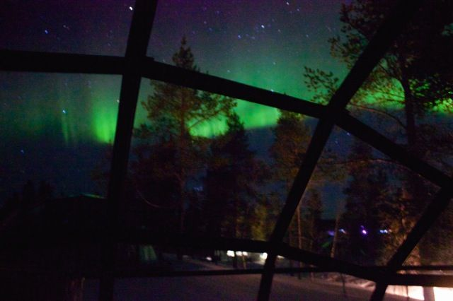 The Northern Lights from our glass igloo we stayed in (Northern Finland).