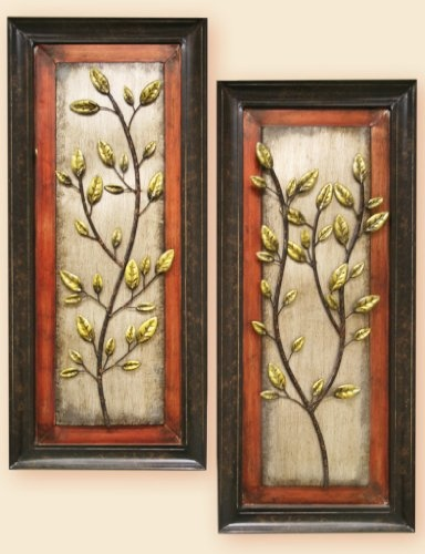 Unique Asian Plant - Beautiful 2 Piece Home and Office Antique Looking Metal Wall Decor $75.00