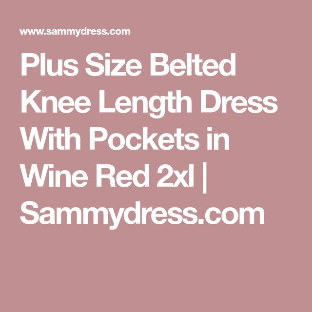 Plus Size Belted Knee Length Dress With Pockets in Wine Red 2xl | Sammydress.com