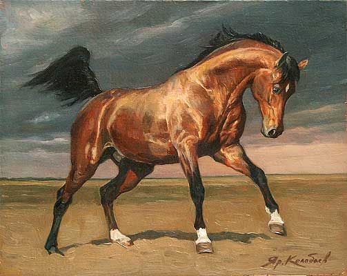 "The Valentine Ryabov Gallery. Contemporary Russian art: painting, skulpture, graphics, photgraphy. Artist Kolobayev Yaroslav ""Horse Power"" Oil on Canvas"