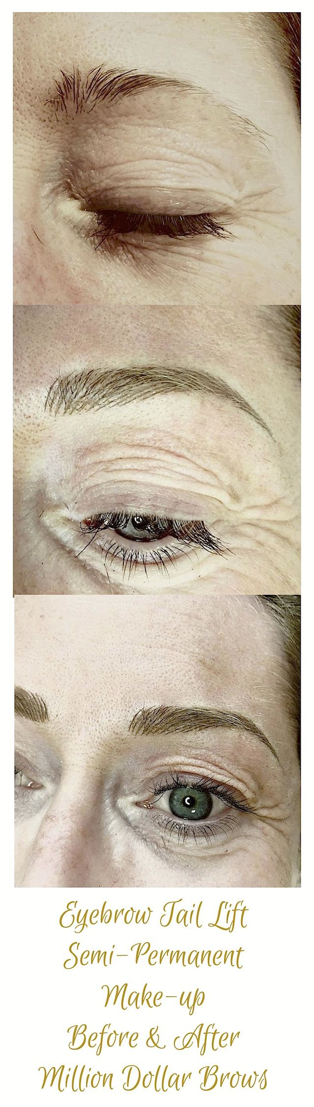 This picture shows an eyebrow tail lift restructuring treatment using semi-permanent make-up or eyebrow tattooing. The client's eyebrows have been realigned and then balanced to give old tired, over plucked eyebrows a brand look and feel. The brow tail is lifted using the face and eyes natural symmetry as a guide to creating beautiful new brows. Mary Spence at the Million Dollar Brows clinic is renowned for being one of the best in the business at the brow tail lift technique.