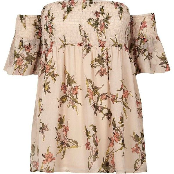 River Island Cream floral shirred bardot smock top (€48) ❤ liked on Polyvore featuring tops, bardot / cold shoulder tops, cream, women, open shoulder top, tall tops, floral print tops, bell sleeve tops and short tops