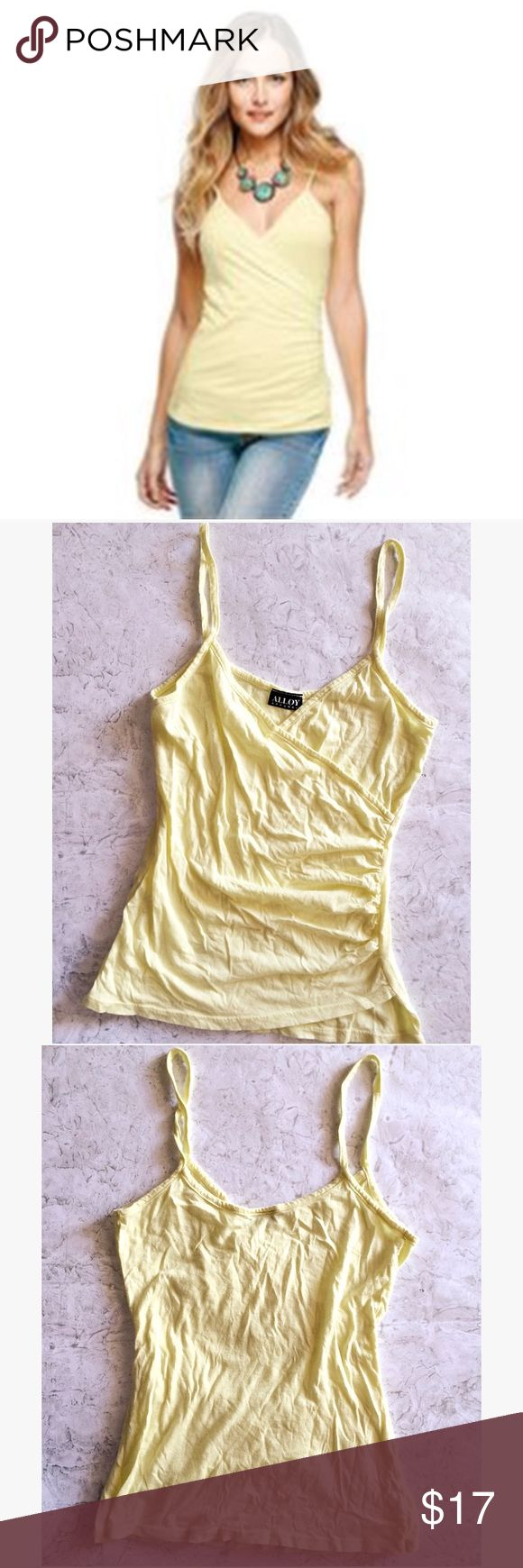 🆑 Surplice Cami Top A dandelion yellow cami top with a surplice silhouette. The ruching on the side is designed to accent your curves. Light-weight & super soft jersey fabric is great for summer and spring! Bought  from Alloy Apparel (online). Condition: worn only once. Examine all photos and ask any questions before buying! No trades • No modeling • CLEARANCE - price is firm unless bundled! Lulu's Tops Camisoles