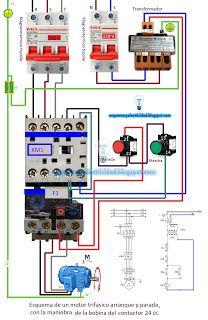 Esquemas eléctricos: Esquema eléctrico de un motor trifásico arranque y...