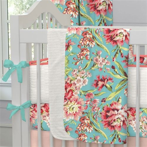 Baby Blanket in Coral and Teal Floral by Carousel Designs.