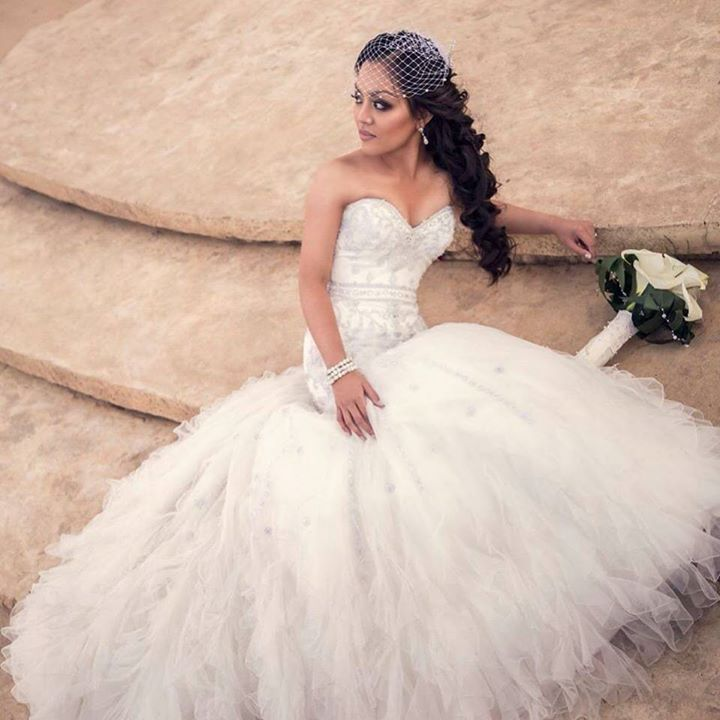 Look supermodel spectacular on your #wedding day. Bride dressed by Bride&co. Click to view more Real Brides or View #weddingdresses.